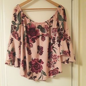 Charlotte Russe Floral Bell Sleeved Blouse